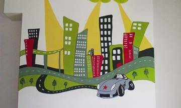 City Scene Racing Car Mural