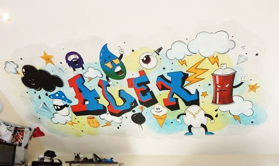 Graffiti Emoji Wall Mural
