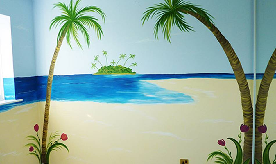 Palm Tree And Beach - Mural