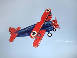 Blue And Red Plane - Mural