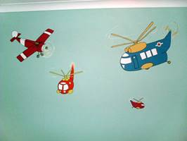 Boys Planes And Heicopters - Mural