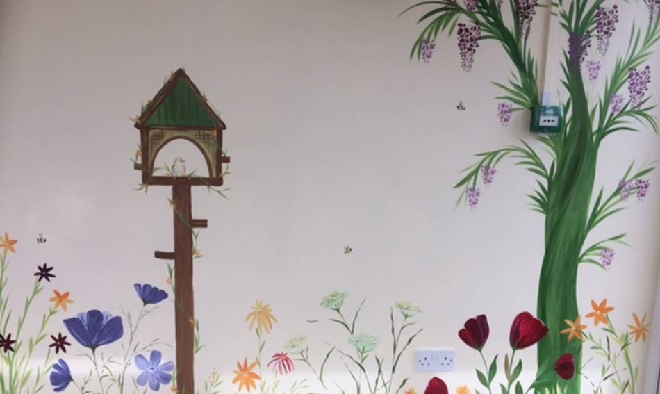Bird Table And Flowers Mural