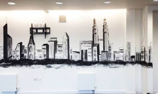 Abstract Iconic Buildings Office Wall Mural