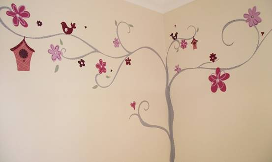 Decorative Tree Birdhouse And Flower Mural