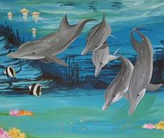Dolphin Family - Mural