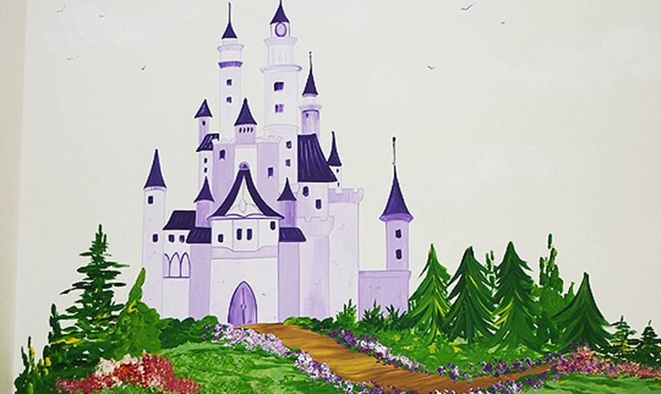 Vintage style princess castle and fields mural for Fairy castle mural