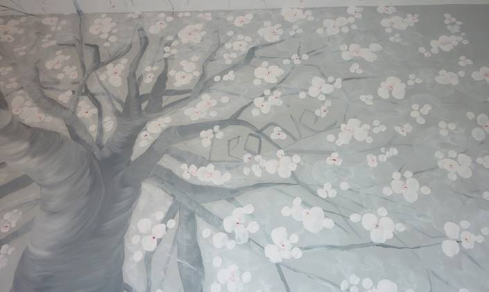 Contemporary Hand Painted Lounge Wall Murals