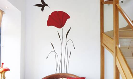 Poppy Hummingbird Mural