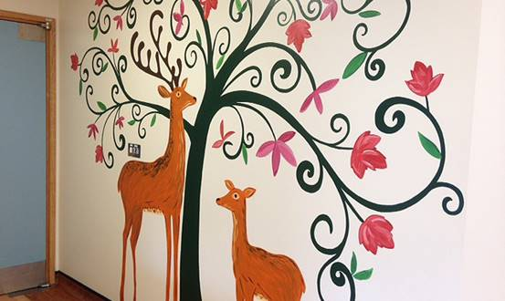 Modern Tree And Deer Mural