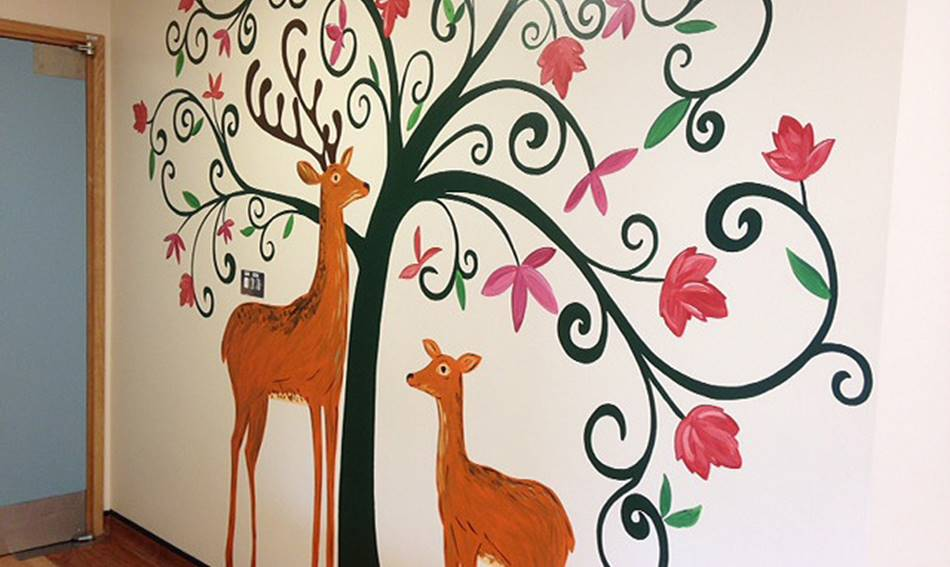Woodland Tree And Deer Mural