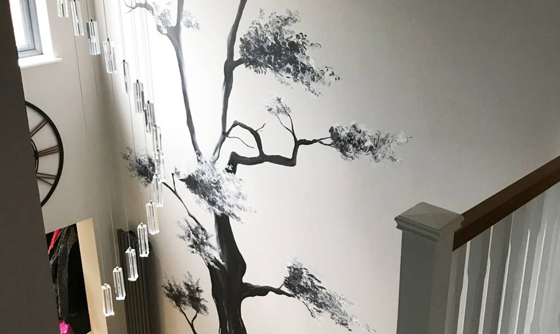 Hand Painted Tree Wall Murals by Cheshire Mural Artist Joanna Perry