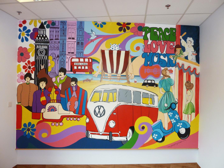 1960\u0027s reminiscence mural experienced mural artist based in1960 vintage mural beatles wall mural