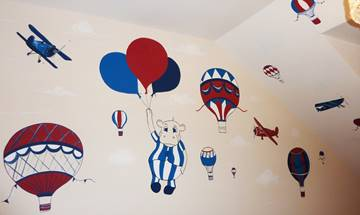 Hot Air Balloon Hippo & Aeroplane Mural