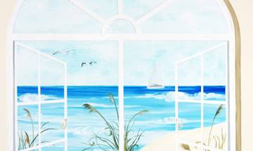 Beach View Window Mural