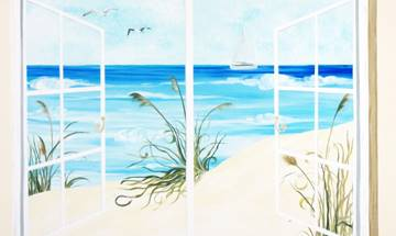 Beach Sea View Window Mural