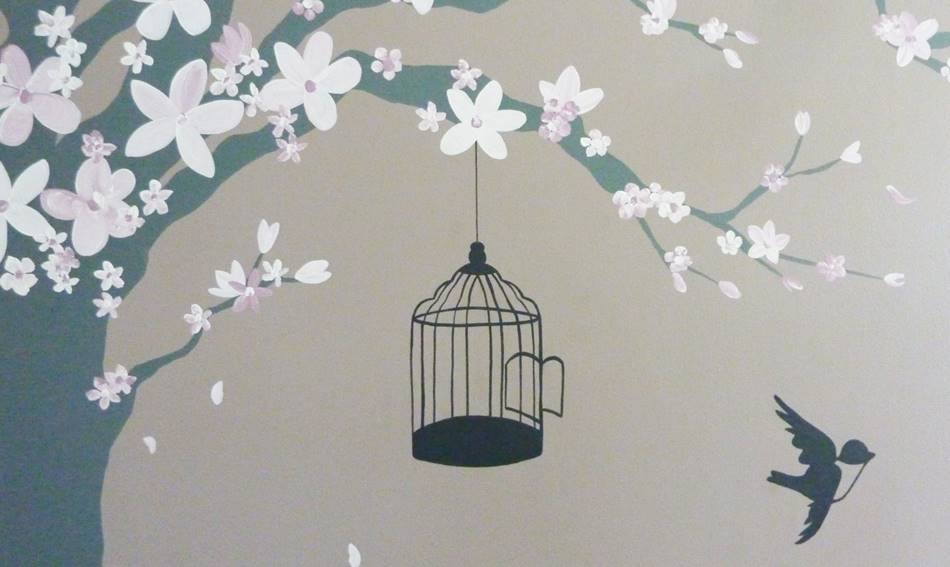 Blossom And Birdcage Mural