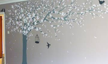Blossom Tree And Birds Mural