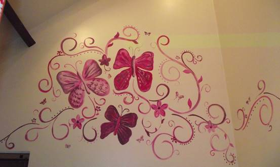 Swirly Flowers & Butterflies Mural