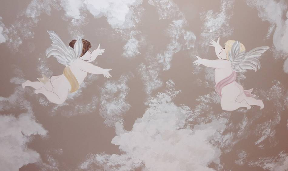 Ceiling Cherub And Cloud Mural
