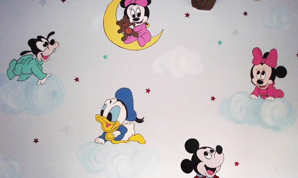 Disney Characters On Clouds Mural