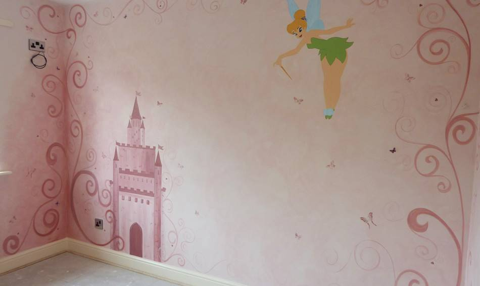 Disney Tinkerbell Swirls and Castle Mural