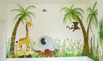 Happy Cartoon Jungle Murals