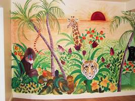 Hand Painted Jungle Wall Mural