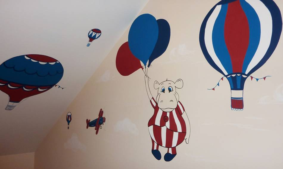 Hot Air Balloon & Airplane Mural