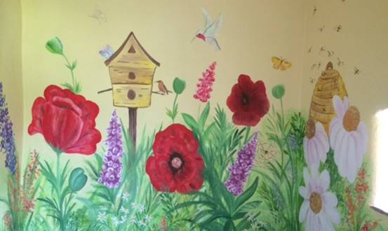 Over-sized Flower Garden Mural