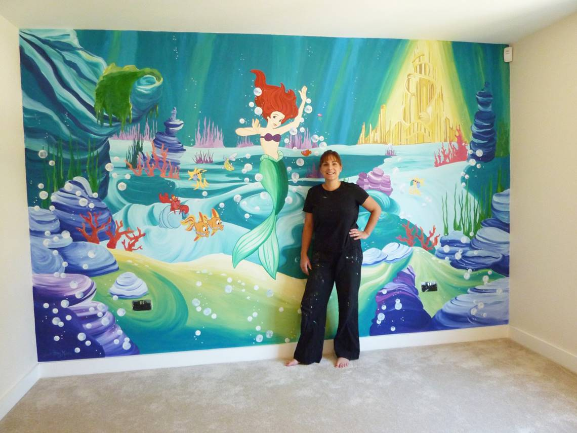 joanna perry murals hand painted murals mural artist murals joanna and little mermaid mural