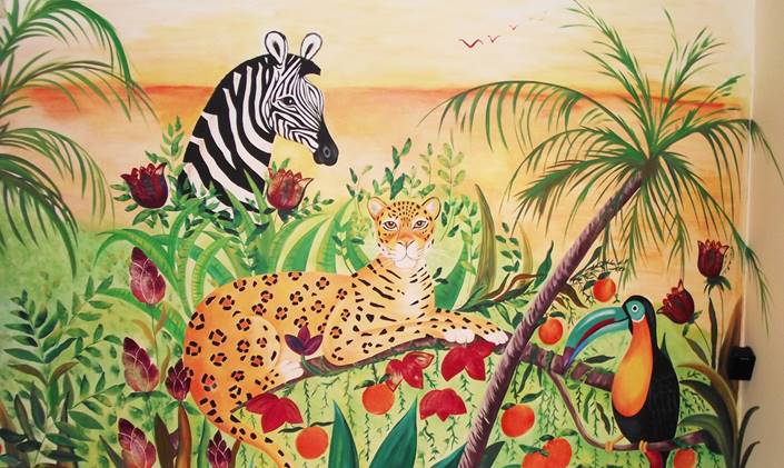 Jungle Wall Murals Hand Painted