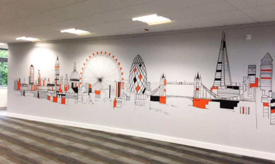 London City Skyline Office Wall Mural
