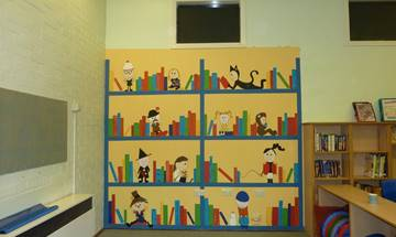 Lee Mount Primary School, Library Bookcase Mural