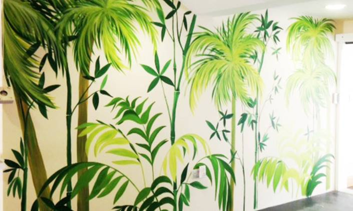 This is How to Make Your Home Office a Happy Space with a Hand Painted Mural