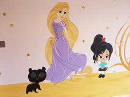Rapunzel and Bear Mural