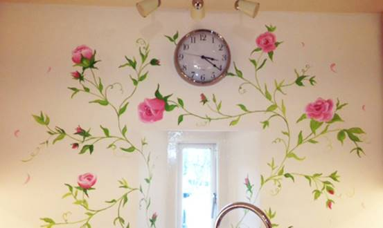 Decorative Garden Rose Mural