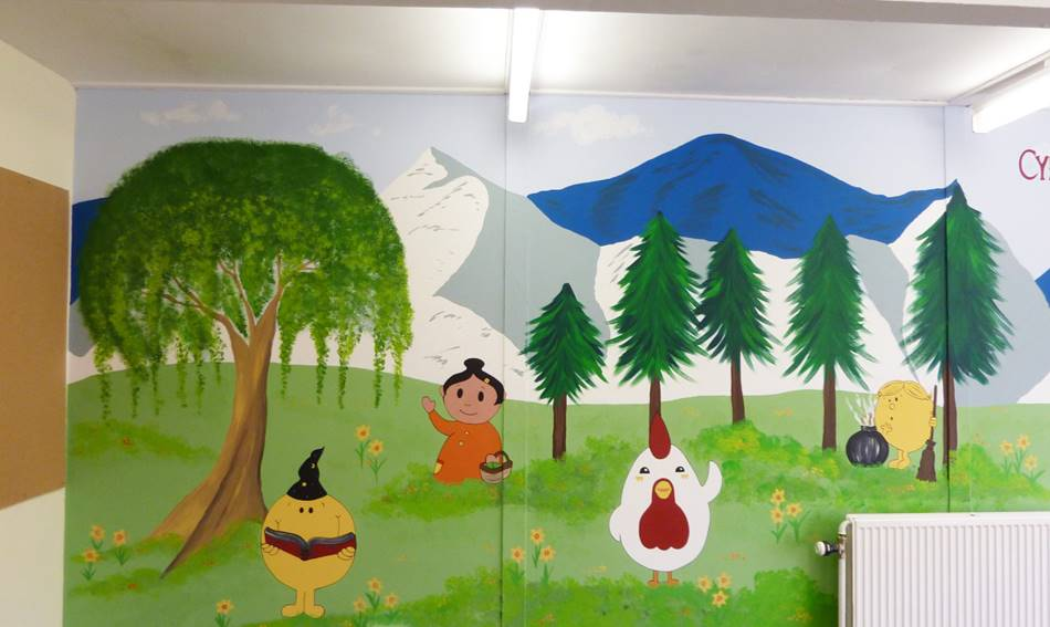 Welsh Book Character Mural