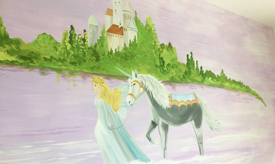Unicorn Castle And Princess Mural