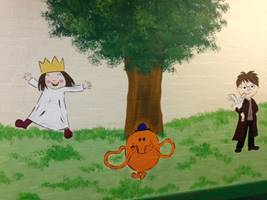 School Book Character Mural