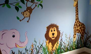 Modern Bright Jungle Mural