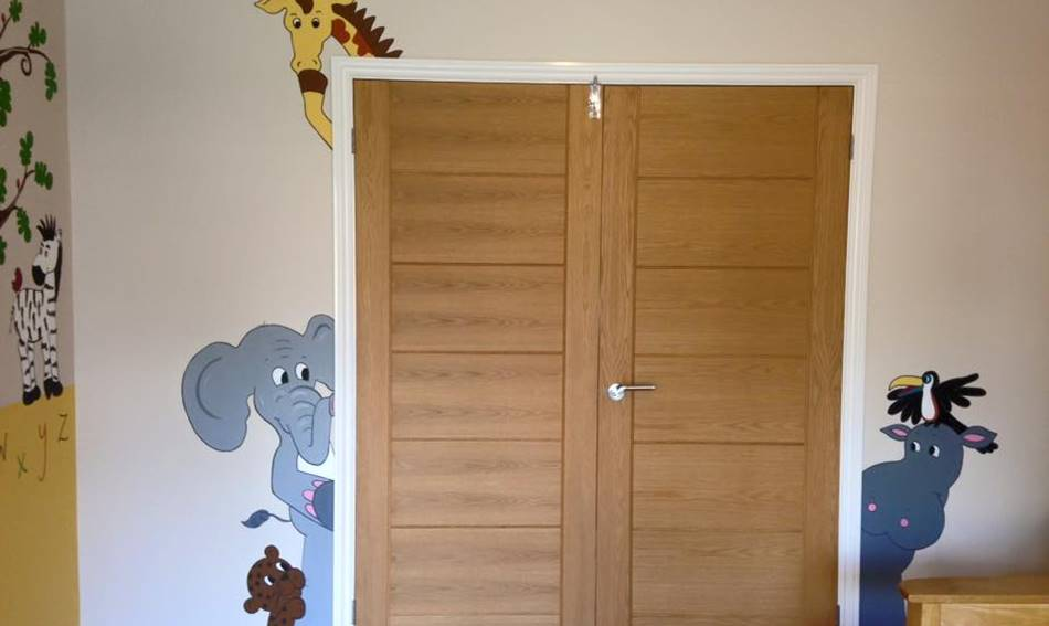 Jungle Animals Hiding Door Mural