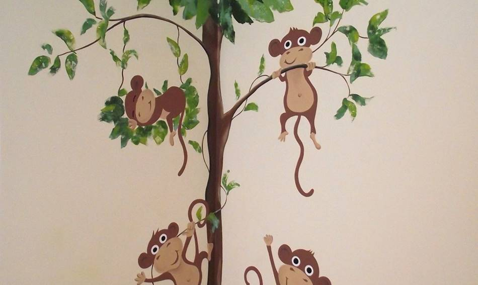 Cheeky Monkey Tree Mural