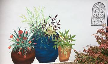 Garden Flower Pots Outdoor Mural
