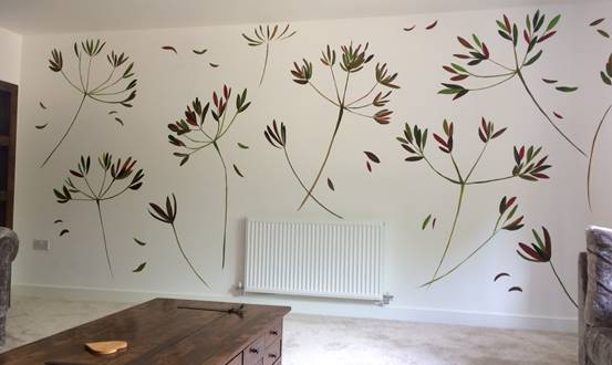 Modern Cow Parsley Feature Mural