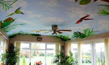 Tropical Palm Tree And Parrot Mural