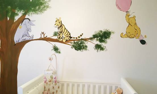 Traditional Styled Winnie The Pooh Mural