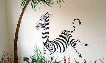 Madagascar Style Jungle Animal Mural