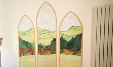 Arched Landscape Field View Window Mural