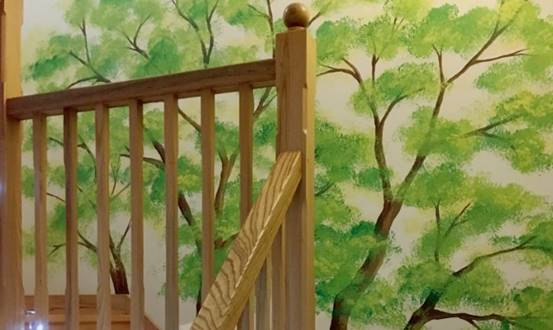 Tall Tree Staircase Mural