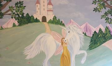 Fairy Princess Unicorn Mural